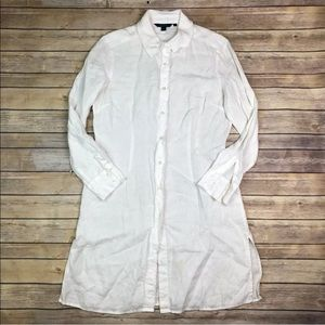 Boden White Linen Button Up Raw Edge Shirt Dress
